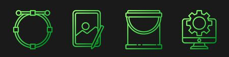 Set line Paint bucket, Circle with Bezier curve, Graphic tablet and Computer monitor and gear. Gradient color icons. Vector Vettoriali