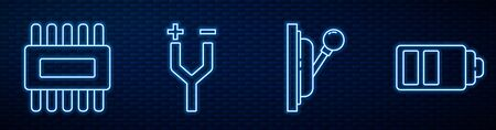 Set line Electrical panel, Processor with microcircuits CPU, Electric cable and Battery charge level indicator. Glowing neon icon on brick wall. Vector Иллюстрация