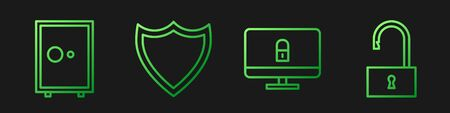 Set line Lock on computer monitor, Safe, Shield and Open padlock. Gradient color icons. Vector Ilustração