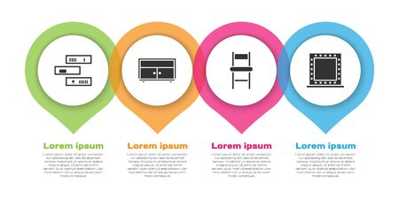 Set Shelf with books, Chest of drawers, Chair and Makeup mirror with lights. Business infographic template. Vector