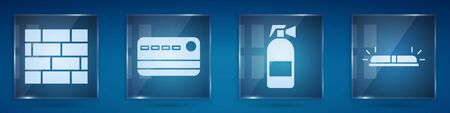 Set Bricks, Credit card, Fire extinguisher and Flasher siren. Square glass panels. Vector