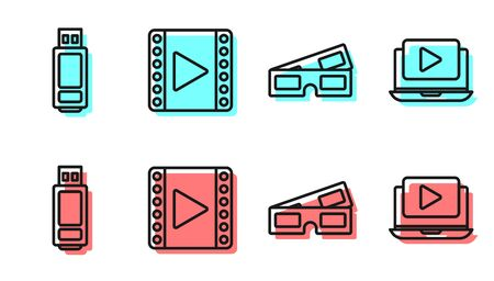Set line 3D cinema glasses, USB flash drive, Play Video and Online play video icon. Vector Иллюстрация