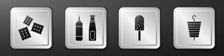 Set Cracker biscuit, Sauce bottle, Ice cream and Grilled shish kebab icon. Silver square button. Vector.