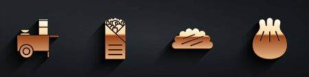 Set Fast street food cart, Doner kebab, Taco with tortilla and Khinkali on cutting board icon with long shadow. Vector.