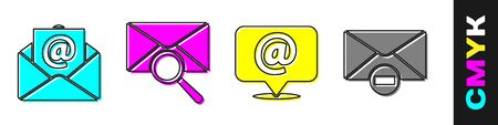Set Mail and e-mail, Envelope with magnifying glass, Mail and e-mail on speech bubble and Delete envelope icon. Vector. Foto de archivo - 150265962