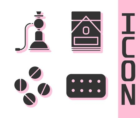 Set Pills in blister pack, Hookah, Medicine pill or tablet and Cigarettes pack box icon. Vector. 일러스트