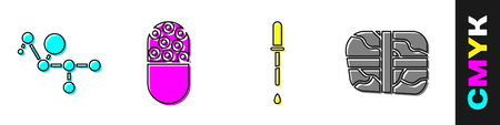 Set Cannabis molecule, Medicine pill or tablet, Pipette and Package with cocaine icon. Vector.