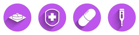 Set Medicine pill or tablet, Medical shield with cross, Medicine pill or tablet and Medical digital thermometer icon with long shadow. Vector.