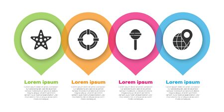 Set Starfish, Lifebuoy, Lollipop and Location on the globe. Business infographic template. Vector. Ilustracja