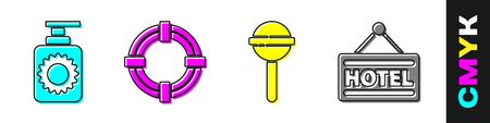 Set Sunscreen spray bottle, Lifebuoy, Lollipop and Signboard with text Hotel icon. Vector.