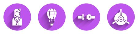 Set Stewardess, Hot air balloon, Safety belt and Plane propeller icon with long shadow. Vector.
