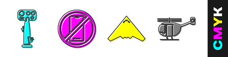 Set Aircraft steering helm, No cell phone, Jet fighter and Helicopter icon. Vector.