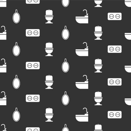 Set Washbasin with water tap, Electrical outlet, Mirror and Toilet bowl on seamless pattern. Vector.
