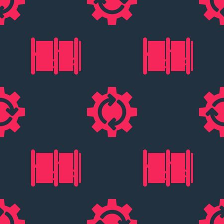 Set Barrel and Gear and arrows as workflow on seamless pattern. Vector.