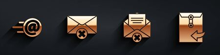 Set Mail and e-mail, Delete envelope, Delete envelope and Envelope icon with long shadow. Vector.