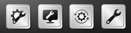 Set Wrench spanner and gear, Location with wrench spanner, Gear and arrows as workflow and Wrench spanner icon. Silver square button. Vector.