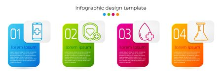 Set line Emergency mobile phone call to hospital, Shield and heart rate, Donate drop blood with cross and Test tube and flask. Business infographic template. Vector. Ilustração