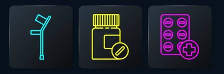 Set line Crutch or crutches, Pills in blister pack and Medicine bottle and pills. Black square button. Vector. 일러스트