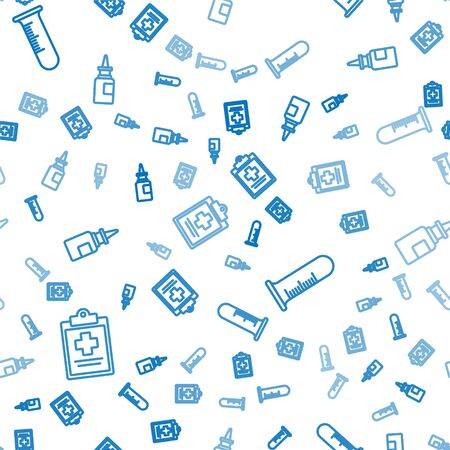 Set line Medical clipboard with clinical record, Test tube and flask and Bottle nasal spray on seamless pattern. Vector. Banco de Imagens - 150261887
