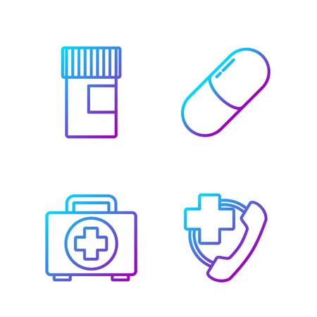 Set line Emergency phone call to hospital, First aid kit, Medicine bottle and Medicine pill or tablet. Gradient color icons. Vector.