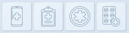 Set line Emergency mobile phone call to hospital, Medical symbol of the Emergency, Medical clipboard with clinical record and Pills in blister pack. White square button. Vector. 일러스트