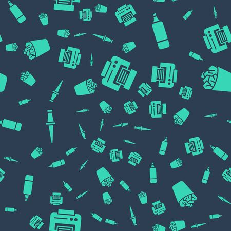 Set Printer, Marker pen, Push pin and Full trash can on seamless pattern. Vector. Stockfoto - 150266270