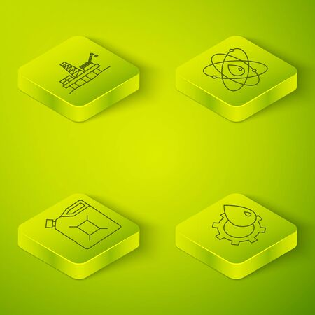Set Isometric Atom, Canister for gasoline, Oil industrial factory building and Oil platform in the sea icon. Vector. Standard-Bild - 150261253
