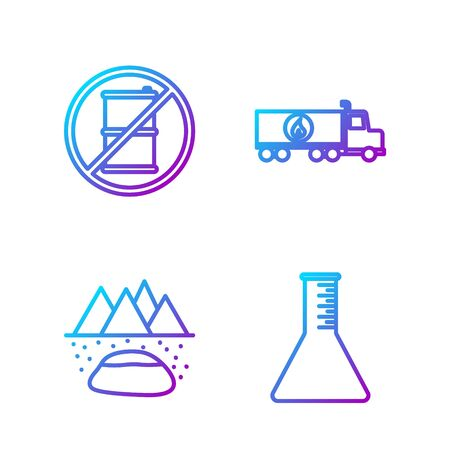Set line Oil petrol test tube, Oilfield, No barrel for gasoline and Tanker truck. Gradient color icons. Vector. Banco de Imagens - 150261226