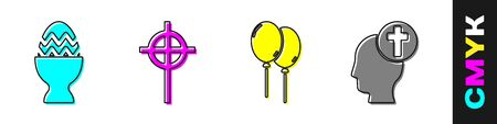 Set Easter egg on a stand, Christian cross, Balloons with ribbon and Human head with christian cross icon. Vector.