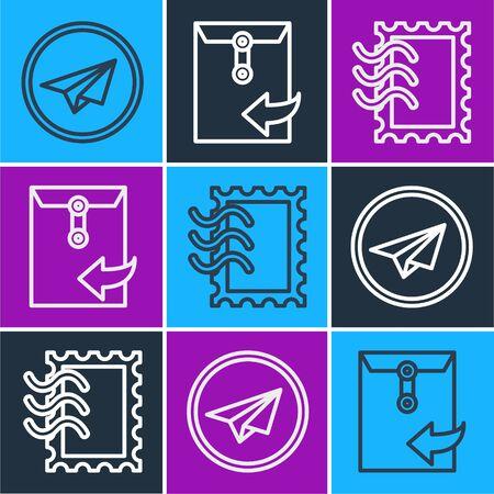 Set line Paper plane, Postal stamp and Envelope icon. Vector.