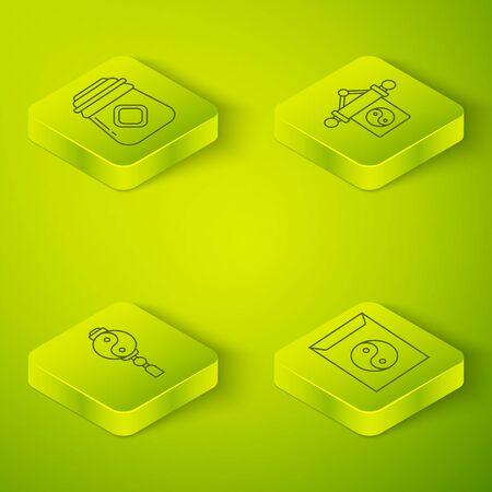 Set Isometric Yin Yang, Yin Yang, Yin Yang and envelope and Jar of honey icon. Vector.