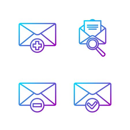 Set line Envelope and check mark, Delete envelope, Received message concept and Envelope with magnifying glass. Gradient color icons. Vector.