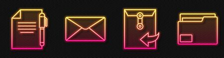 Set line Envelope, Document and pen, Envelope and Document folder. Glowing neon icon. Vector. Foto de archivo - 150261872