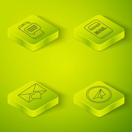 Set Isometric Mail box, Envelope with Valentine heart, Paper plane and Chat messages notification on phone icon. Vector. Standard-Bild - 150261207