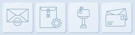 Set line Delete envelope, Mail box, Envelope setting and Envelope. White square button. Vector. Vectores