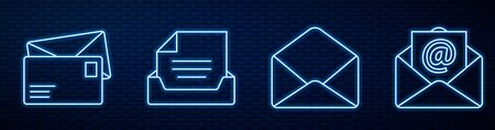 Set line Envelope, Envelope, Drawer with document, Mail and e-mail and Monitor and envelope. Glowing neon icon on brick wall. Vector. Vettoriali