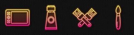 Set line Crossed paint brush, Graphic tablet, Tube with paint palette and Paint brush. Glowing neon icon. Vector. 일러스트