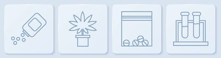 Set line Medicine bottle and pills, Plastic bag of drug, Marijuana or cannabis plant in pot and Test tube and flask. White square button. Vector. Banco de Imagens - 150261829