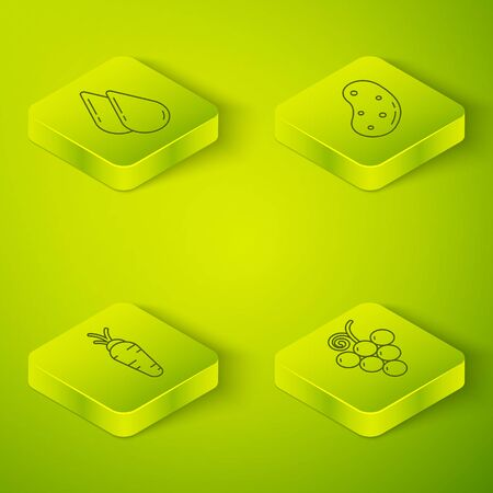 Set Isometric Potato, Carrot, Grape fruit and Water drop icon. Vector. Standard-Bild - 150261839