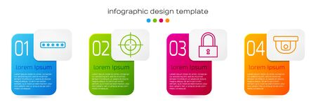 Set line Password protection, Target sport, Lock and Motion sensor. Business infographic template. Vector.