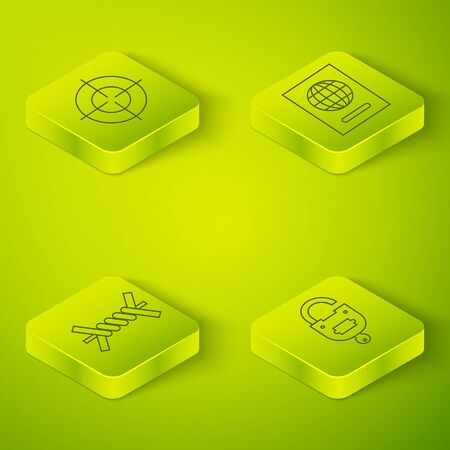Set Isometric Passport, Barbed wire, Lock and key and Target sport icon. Vector. Standard-Bild - 150261728