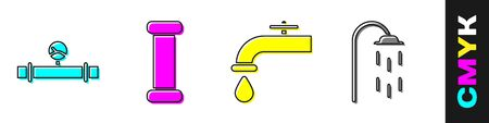 Set Industry pipe and manometer, Industry metallic pipe, Water tap and Shower icon. Vector.