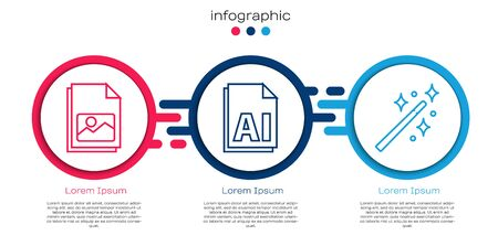 Set line Picture landscape, AI file document and Magic wand. Business infographic template. Vector.