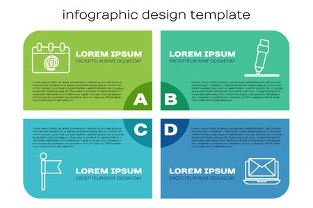 Set line Location marker, Calendar with email, Laptop with envelope and Pencil with eraser. Business infographic template. Vector. Foto de archivo - 150262318
