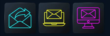 Set line Outgoing mail, Monitor and envelope and Laptop with envelope. Black square button. Vector. Vectores