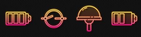 Set line Light emitting diode, Battery charge level indicator, Electric circuit scheme and Battery charge level indicator. Glowing neon icon. Vector.