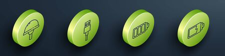 Set Isometric Light emitting diode, USB cable cord, Battery charge level indicator and Battery charge level indicator icon. Vector.