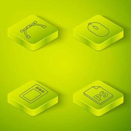 Set Isometric Computer mouse, Graphic tablet, PS File document and Bezier curve icon. Vector. Standard-Bild - 150265128