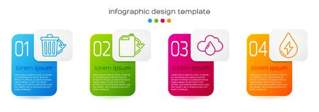 Set line Recycle bin with recycle, Eco fuel canister, Cloud with rain and Water energy. Business infographic template. Vector. Stock Illustratie