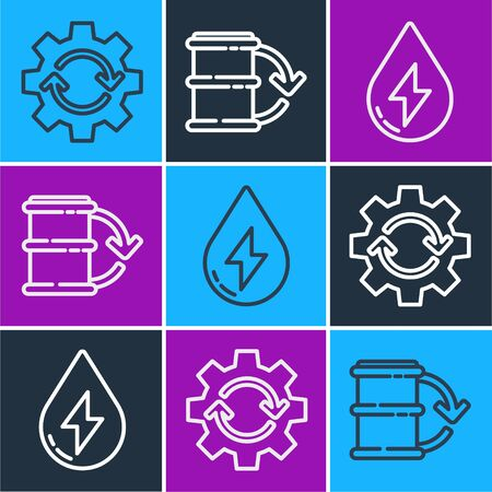 Set line Gear and arrows as workflow, Water energy and Eco fuel barrel icon. Vector.